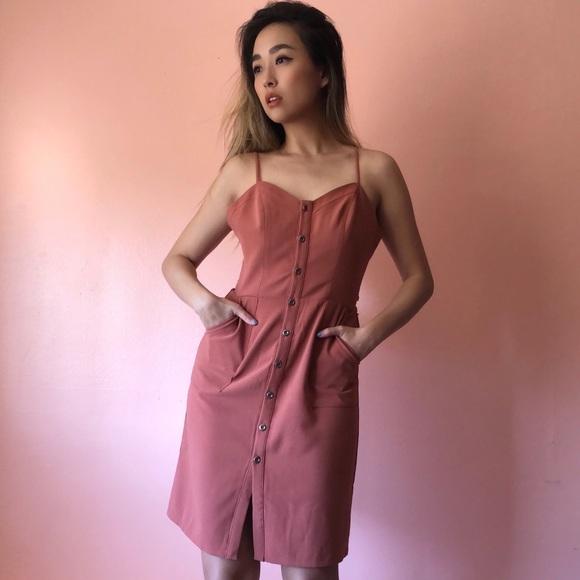 Lovers + Friends Dresses & Skirts - Lovers + Friends Rust Button Dress